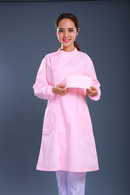 粉色长款护士制服