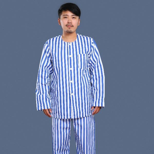 蓝白条纹无领病号服