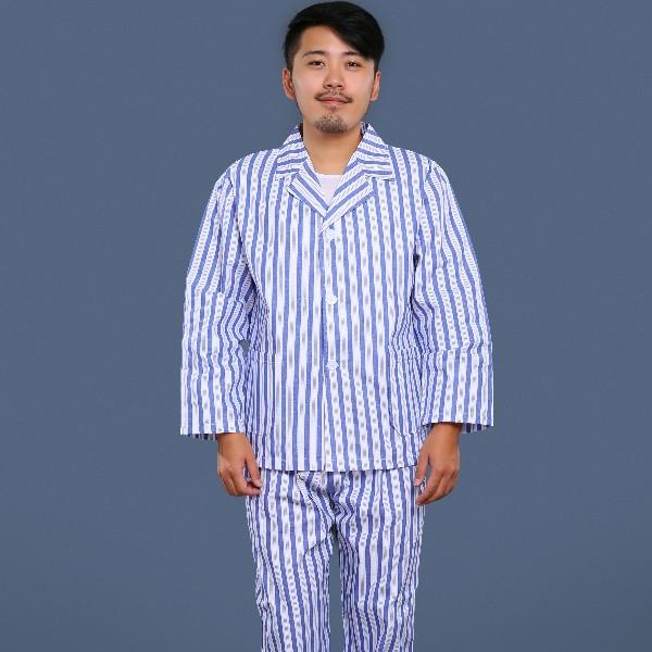 蓝白条纹翻领病号服